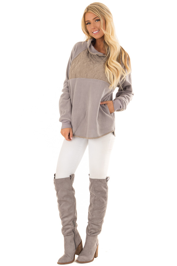 Grey and Taupe Fleece Pullover Sweater with Pockets front full body