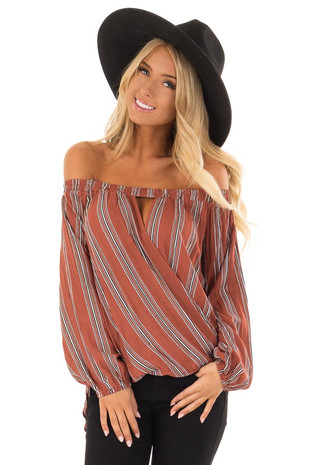 Rust Striped Off the Shoulder Top with Keyhole Cutout front close up
