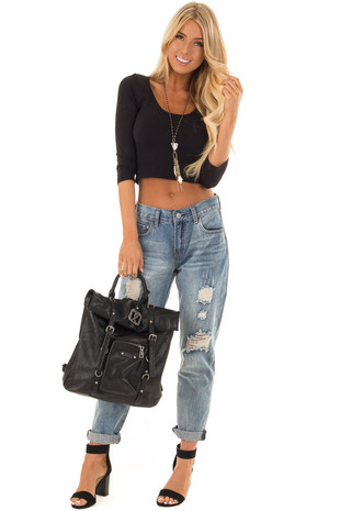 Denim Mid-Rise Ripped and Distressed Boyfriend Jeans front full body