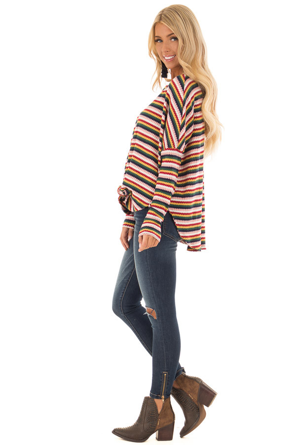 Multi Striped Button Up Long Sleeve Top with Front Tie side full body
