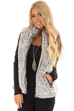 Black Two Tone Sherpa Zip Up Vest with Pockets front close up