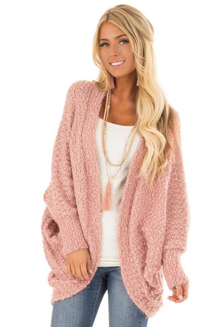 Blush Fuzzy Knit Cardigan with Batwing Sleeves front close up