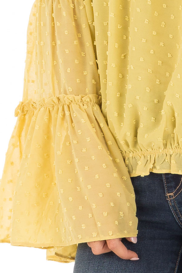 Mustard Yellow Sheer Off the Shoulder Top with Bell Sleeves detail