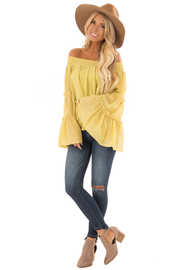 Mustard Yellow Sheer Off the Shoulder Top with Bell Sleeves front full body