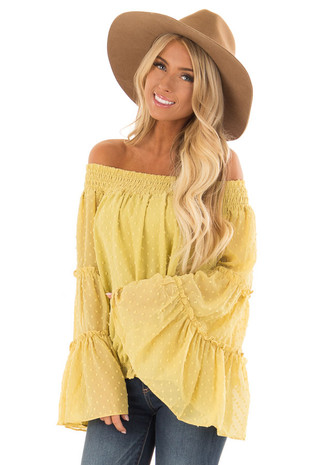Mustard Yellow Sheer Off the Shoulder Top with Bell Sleeves front close up