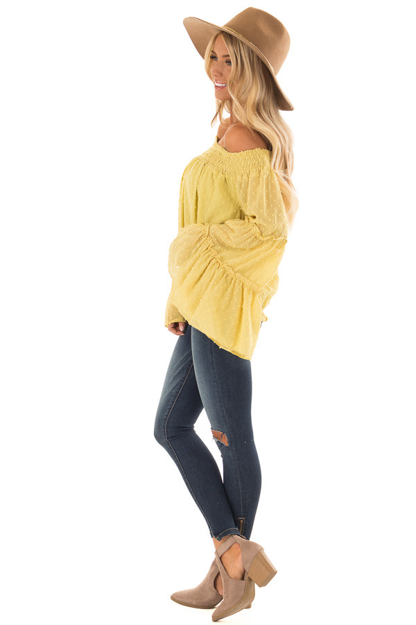 Mustard Yellow Sheer Off the Shoulder Top with Bell Sleeves side full body