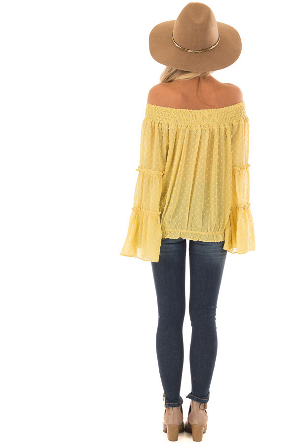 Mustard Yellow Sheer Off the Shoulder Top with Bell Sleeves back full body