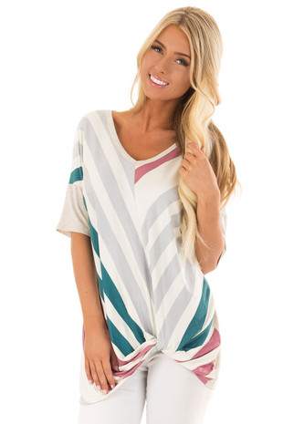 Heathered Beige Multi Color Stripe Chevron Top with Twist front close up