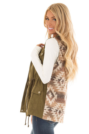 Olive Microsuede Vest with Geometric Print Contrast side close up
