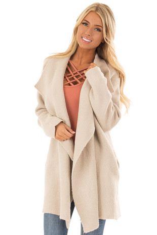 Oatmeal Long Draped Thick Knit Open Front Coat front close up