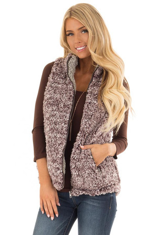 Lavender Two Tone Sherpa Zip Up Vest with Pockets front close up