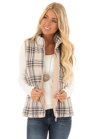 Tan Plaid Puffer Vest with Pockets front close up
