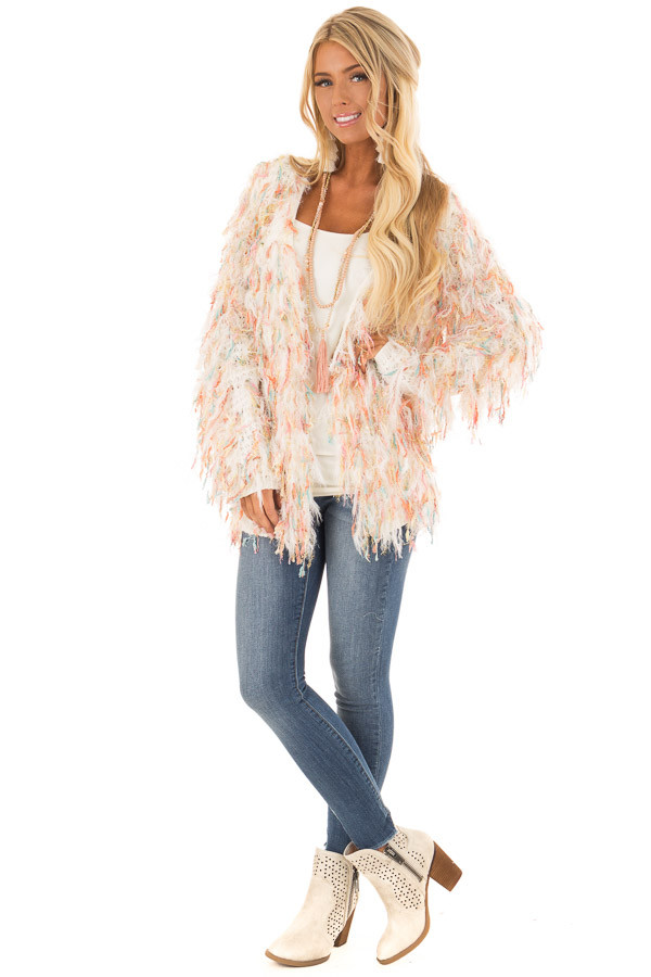 Cream Cardigan with Multicolor Sparkle Frills front full body