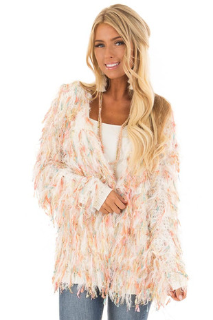 Cream Cardigan with Multicolor Sparkle Frills front close up