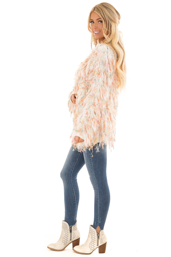 Cream Cardigan with Multicolor Sparkle Frills side full body