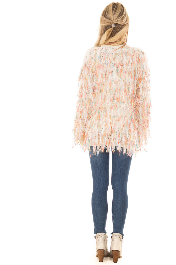 Cream Cardigan with Multicolor Sparkle Frills back full body
