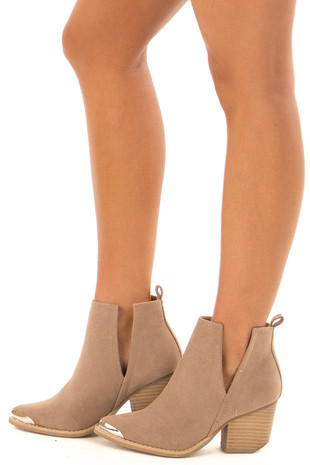Taupe Pointed Steel Toe Booties side view
