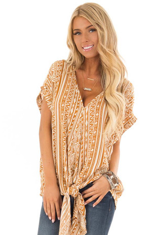 Apricot and Cream Tribal Print Blouse with Front Tie front close up