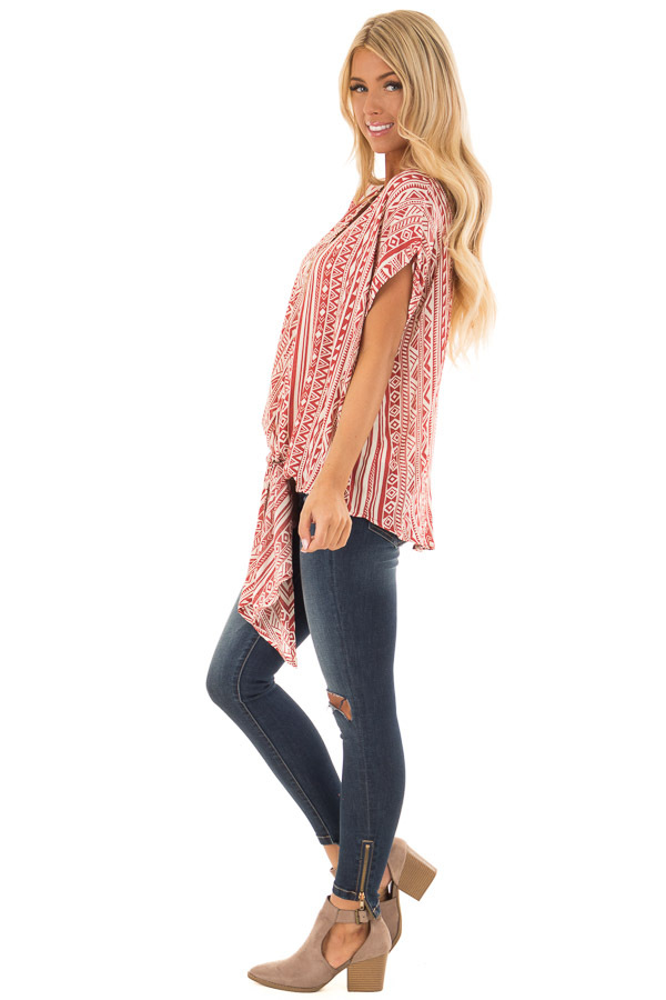 Brick and Cream Tribal Print Blouse with Front Tie side full body
