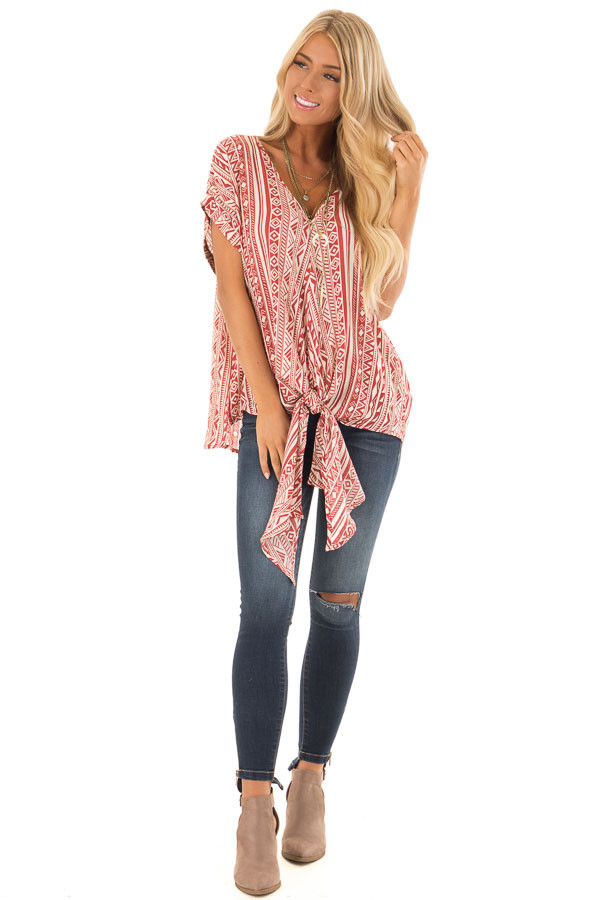 Brick and Cream Tribal Print Blouse with Front Tie front full body