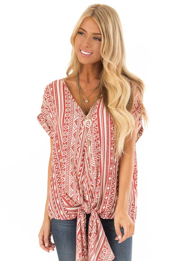 Brick and Cream Tribal Print Blouse with Front Tie front close up