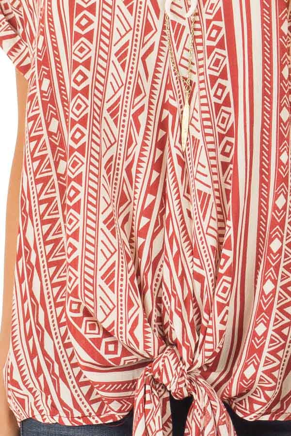 Brick and Cream Tribal Print Blouse with Front Tie detail