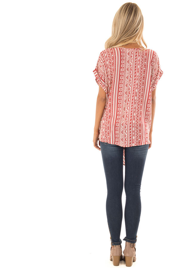 Brick and Cream Tribal Print Blouse with Front Tie back full body
