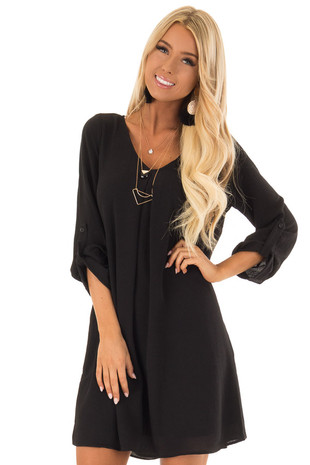Black Swing Dress with Roll up Sleeve Detail front close up