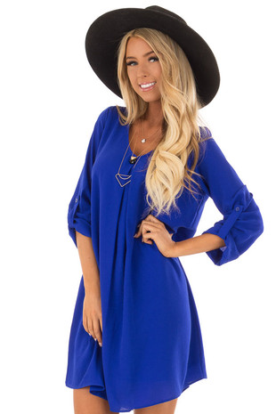 Royal Blue Swing Dress with Roll up Sleeve Detail front close up