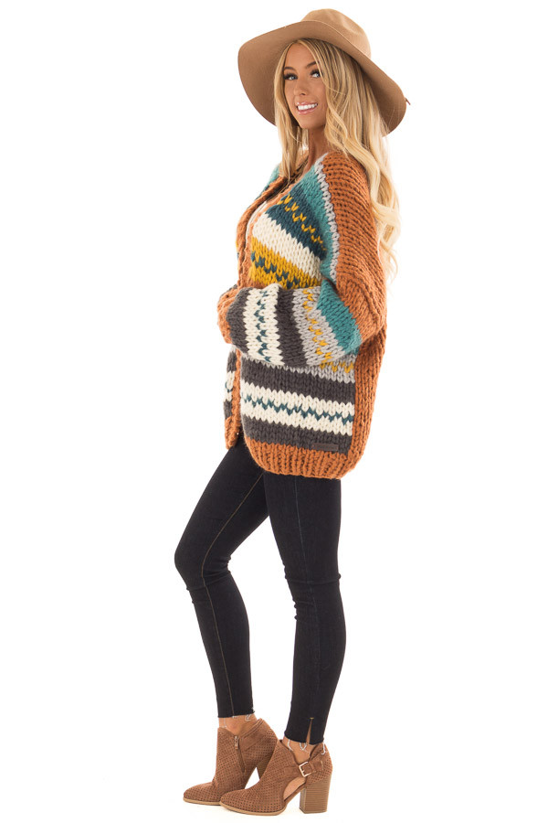Multi Striped Hand Made Open Front Cardigan side full body