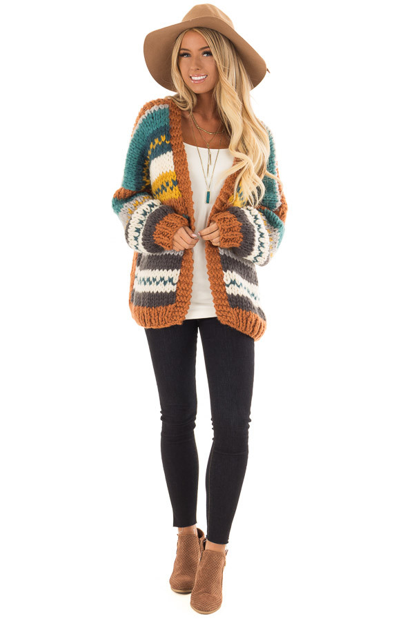 Multi Striped Hand Made Open Front Cardigan front full body
