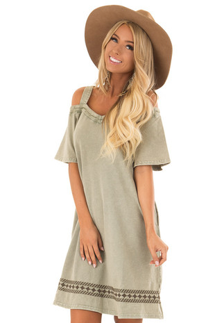Olive Cold Shoulder Washed Knit Embroidered Dress front close up