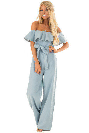 Light Denim Off the Shoulder Jumpsuit with Zipper Front front full body