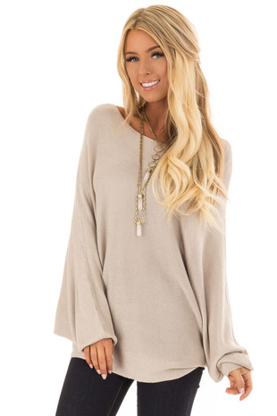 Champagne Lightweight Sweater with Dolman Sleeves front close up