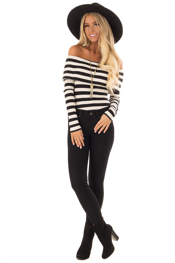Cream and Black Stripe Off the Shoulder Ribbed Bodysuit front full body