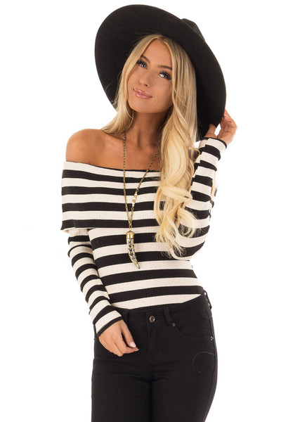 Cream and Black Stripe Off the Shoulder Ribbed Bodysuit front close up