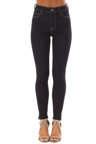 Dark Denim High Waisted Jeans with Raw Ankle Hem front view