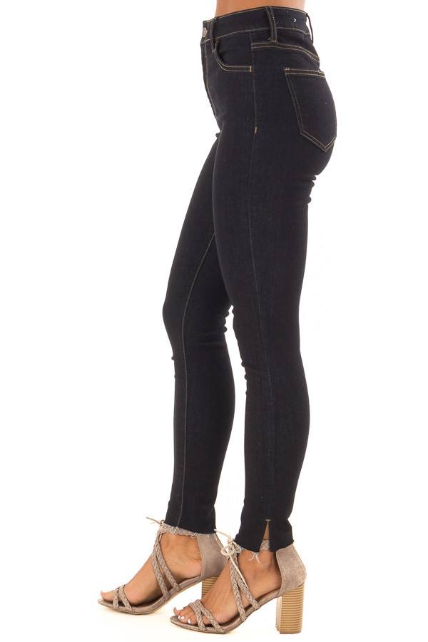 Dark Denim High Waisted Jeans with Raw Ankle Hem back view