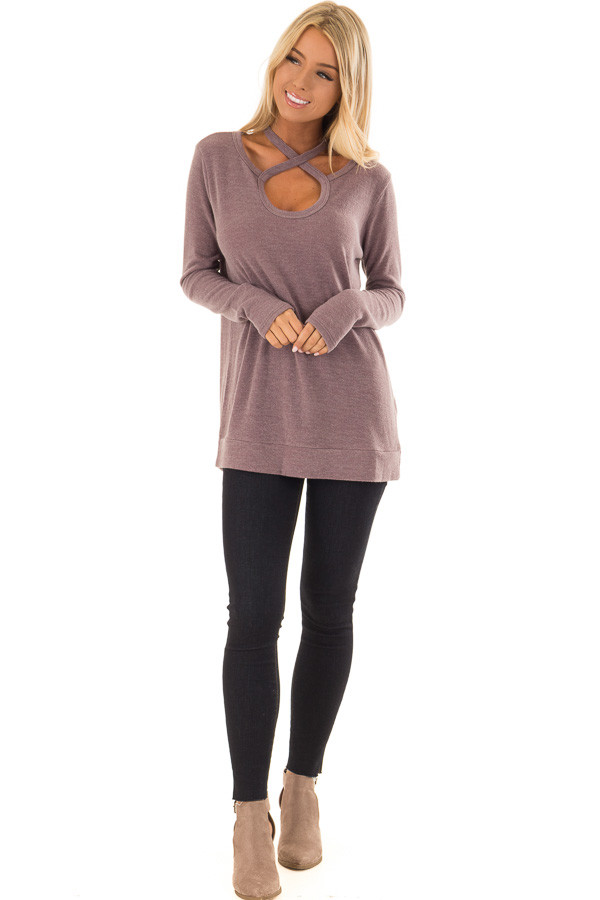 Mauve Criss Cross Open Front Long Sleeve Sweater front full body