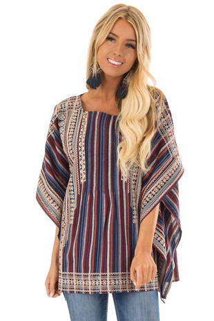 Navy and Maroon Striped Oversize Embroidered Poncho front close up