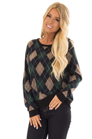 Hunter Green and Taupe Argyle Long Sleeve Sweater front close up