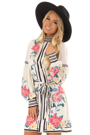 Ivory Floral Print Dress with Bishop Sleeves front close up
