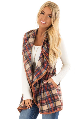 Camel Plaid Open Front Vest with Side Pockets front close up