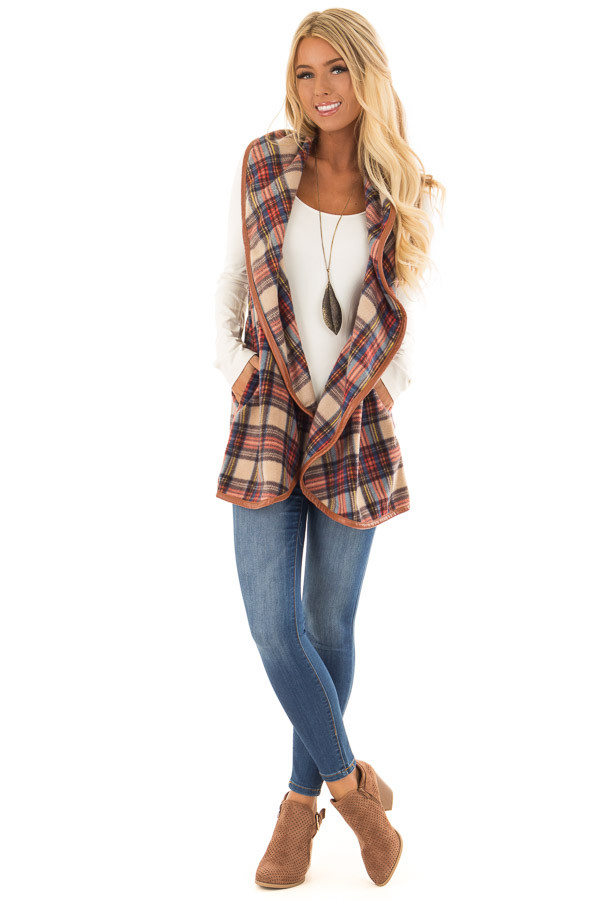 Camel Plaid Open Front Vest with Side Pockets front full body