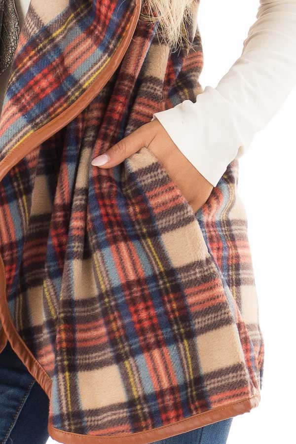 Camel Plaid Open Front Vest with Side Pockets detail