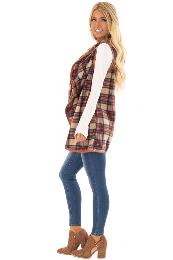 Camel Plaid Open Front Vest with Side Pockets side full body