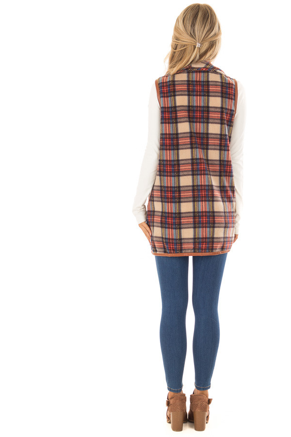 Camel Plaid Open Front Vest with Side Pockets back full body