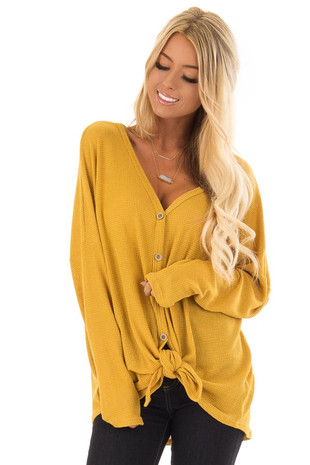 Mustard Long Sleeve Button Up Top with Front Knot front close up