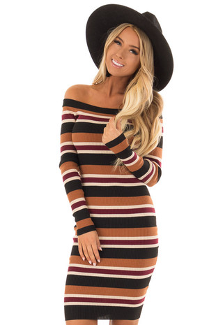 Caramel and Black Stripe Off the Shoulder Bodycon Dress front close up