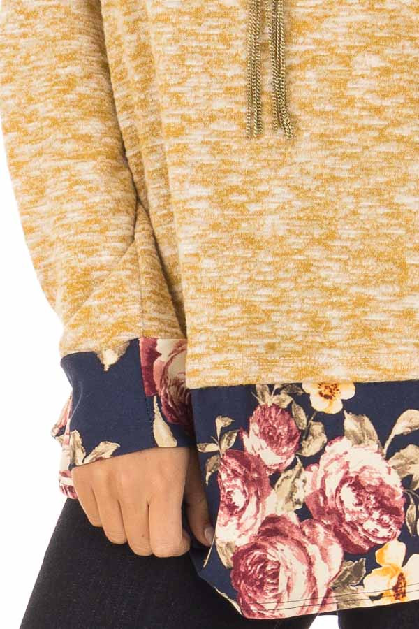 Mustard Two Tone Top with Floral Contrast and Elbow Patches detail